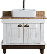African Allure Single Vanity Unit with marble top