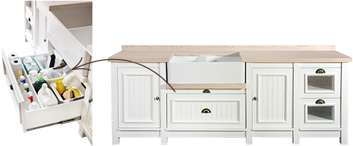 English Elegance Double Butler Sink Unit with Veggie Drawers and Utility Drawer
