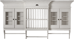 French Flair Plate Rack with 4 Doors with Wire