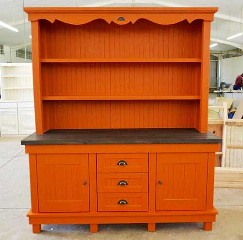 African Allure Coffee Dresser with French Flair Twirl in Dulux Daring Argentina
