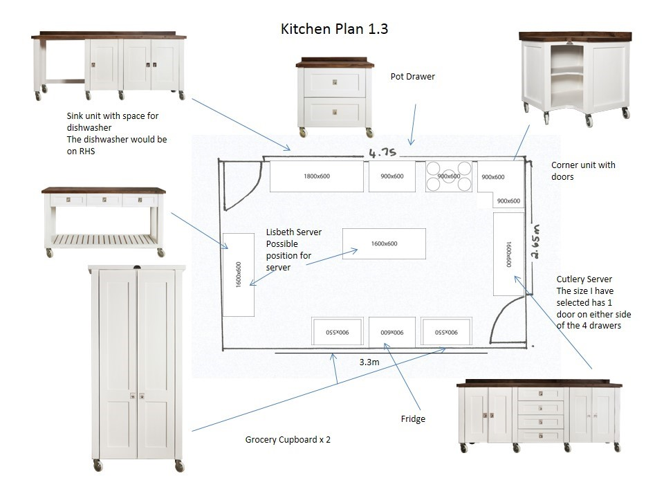 Milestone kitchens journal free standing hand made for Perfect kitchen floor plan