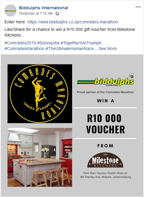 4357b86b We are proud to partner with Biddulphs International again this year for  the Comrades Marathon give away. Click here to enter