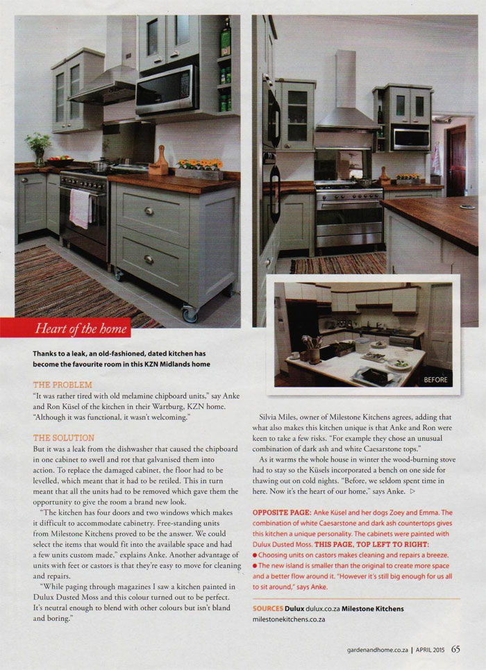 Milestone kitchens journal free standing hand made for Kitchen units sa