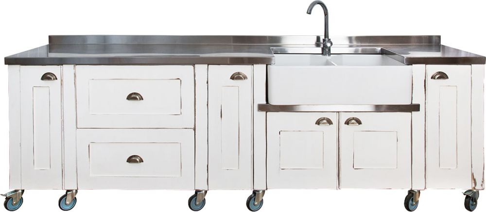 Swedish style range of free standing hand made kitchen units for Steel kitchen cabinets south africa