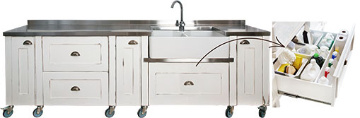Swedish Style Double Butler Sink unit with Steel Top