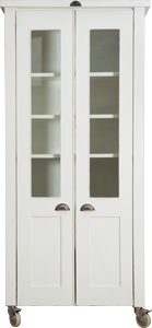 Swedish Style Deluxe Grocery Cupboard with Glass Doors and Cup Handles