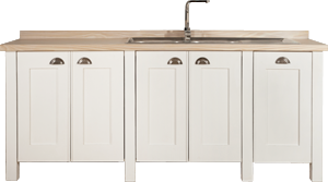 Swedish Style Sink Unit with Fitted Sink on Feet, Blonde Top, Cup Handles and a Bin