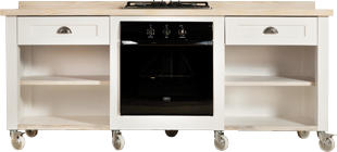 Swedish Style Stove Unit with Fitted Hob and Oven, blonde Top, Shelf Edging and Cup Handles